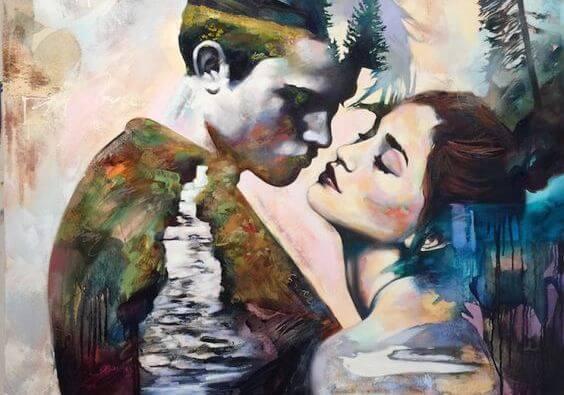 adam ve kadın öpüşüyor