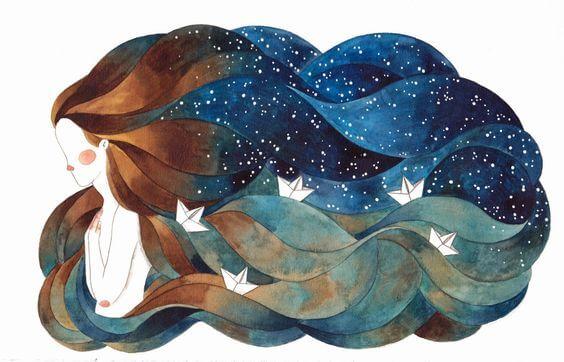 saçları deniz ve gök olan kadın