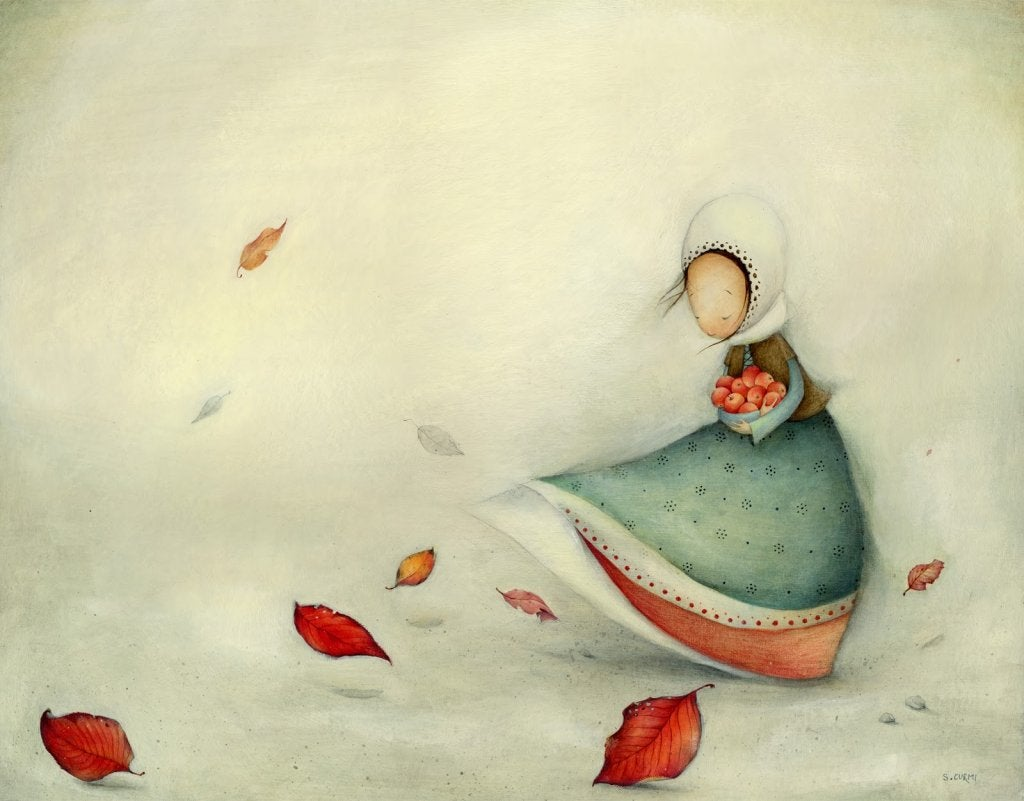 bir sepet elma taşıyan kız