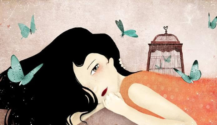 kadın, kafes ve kelebekler