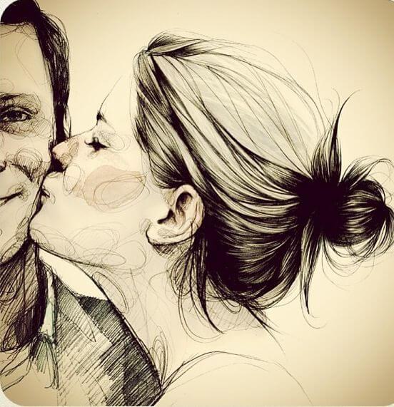 kadın erkeği yanağından öpüyor