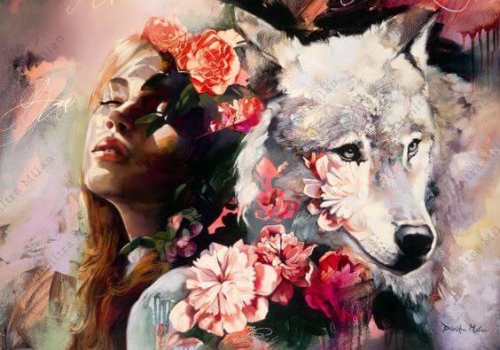 çiçekli kadın ile beyaz kurt