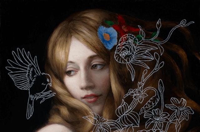 kadın kuş ve çiçekler arasında