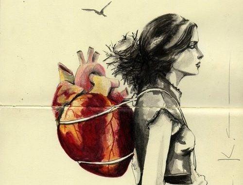 kalp bir sırt çantası