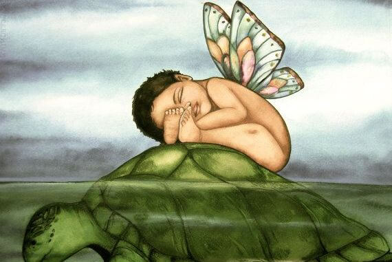 kaplumbağa ve kelebek çocuk