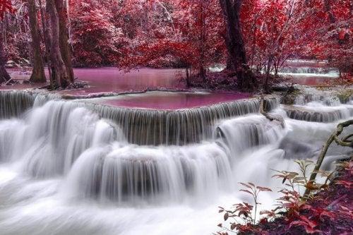şelale ve kırmızı sonbahar
