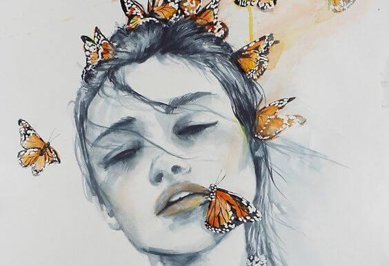 kadın ve kelebekler