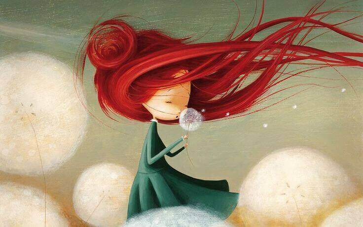 kırmızı saçlı kız üflüyor