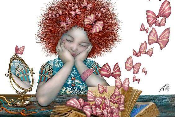 kitap, kelebek kurdeleler ve kız