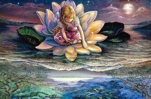 nilüfer çiçeğinin içine oturmuş kız