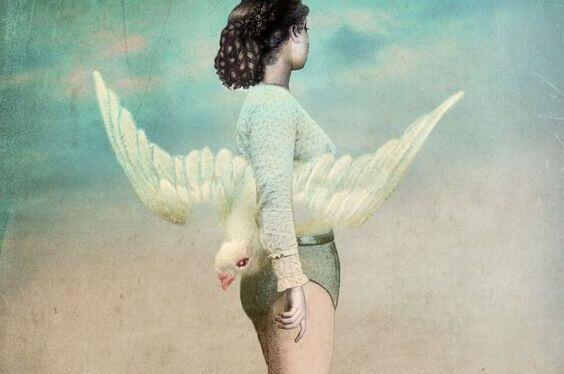 kız ve kanatlı kuş
