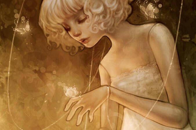 kız, ışık ve kelebekler