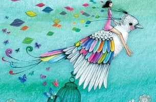 rengarenk kuşa binmiş kadın