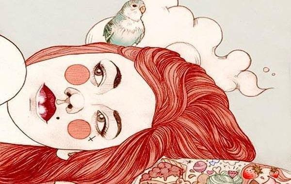 kırmızı saçlı kız ve kuş