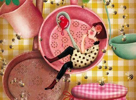 tavada yatan bal yiyen kadın