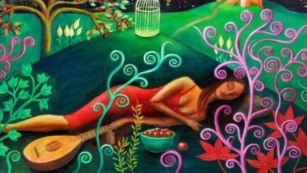 ud ve uyuyan kadın