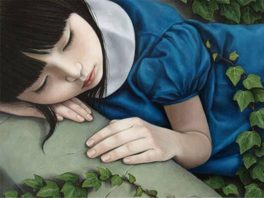 mavi elbiseli uyuyan kız
