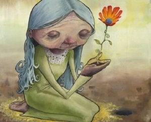 çiçekte yaşam ve yaşlı kadın
