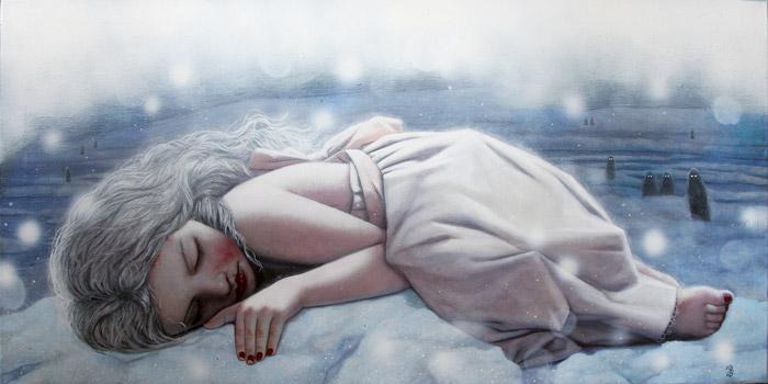 karda uyuyan kız