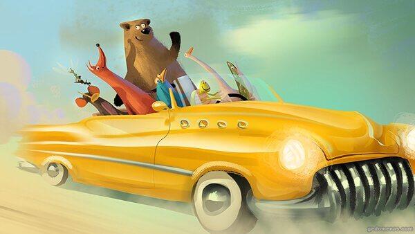 arabada mutlu karikatür