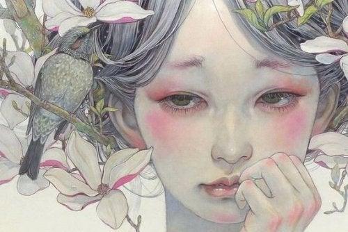 çiçek saçlı düşünceli kız