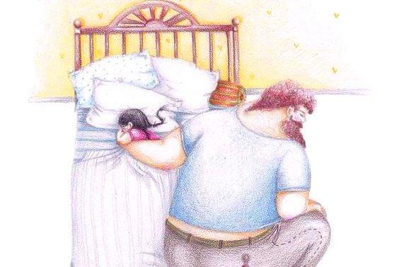 kızını uyutan baba