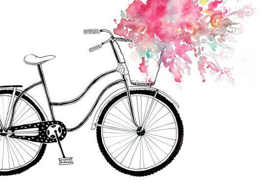 çiçek taşıyan bisiklet