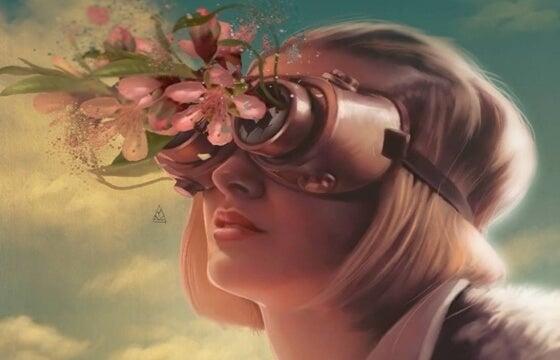 çiçek gözlüklü kadın göğe bakıyor
