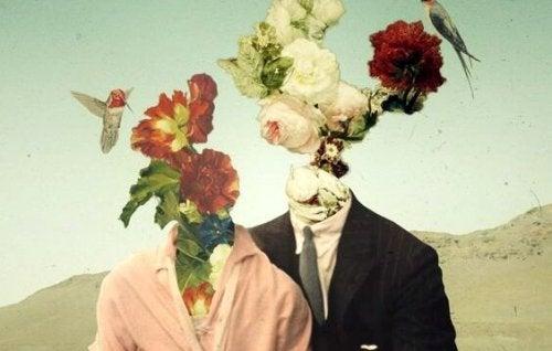 çiçekten kafası olmuş çift
