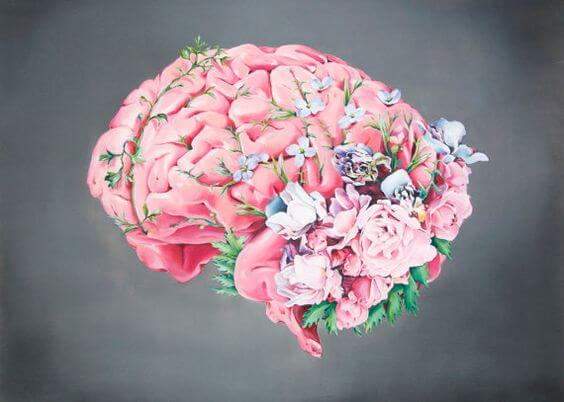 çiçekle kaplanmış pembe beyin