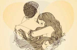 çift birbirine sarılıyor