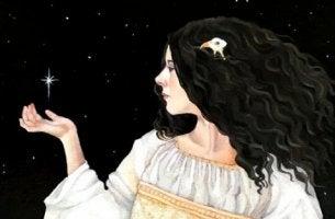 esmer saçlı kadın galakside
