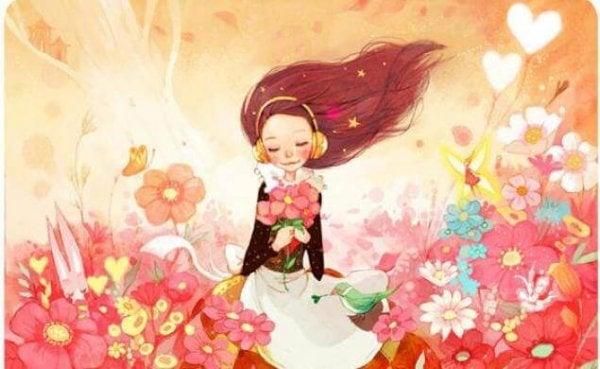 rüzgarlı tarlada kız