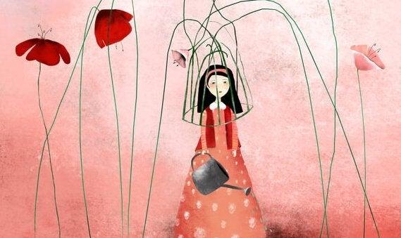 çiçeklerin tutsak ettiği kadın