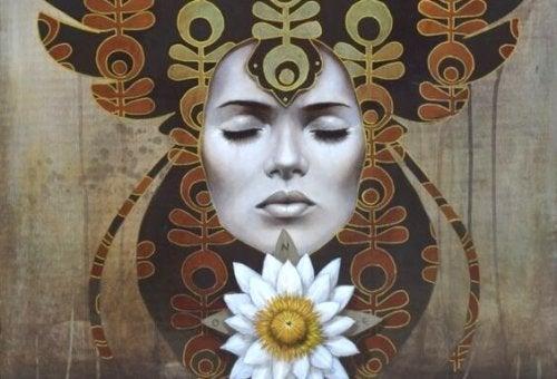 gizemli kadın silueti ve çiçek