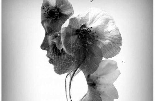 çiçek ile kadın silueti birleşmiş