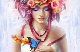 kadın-çiçekler-kelebek