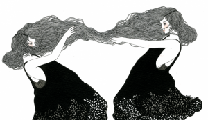 kadınların saçları birbirlerine bağlı