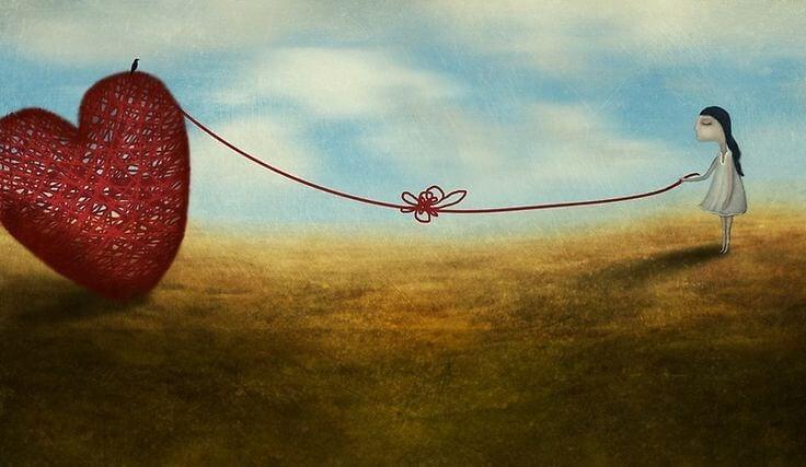 kalbine düğümle bağlanmış kadın