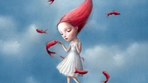 uçan kırmızı balıklar ve kırmızı saçlı kız