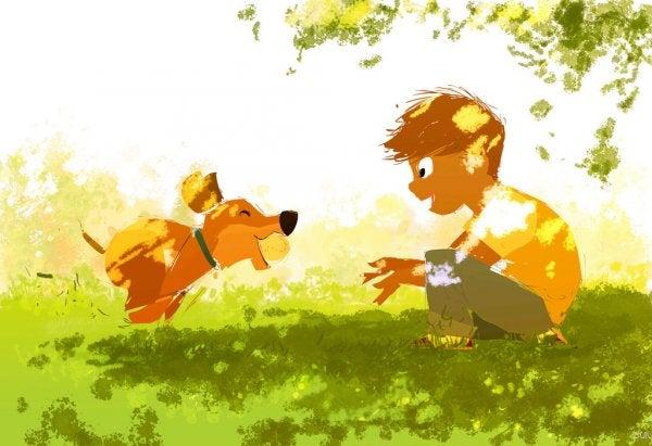 top oynayan çocuk ve köpek