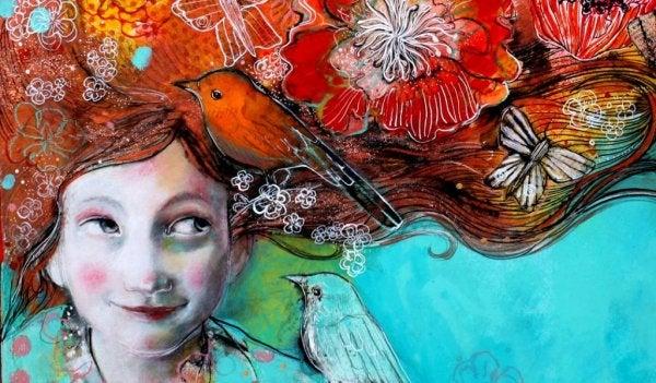 çiçek ve kuş saçlı kız