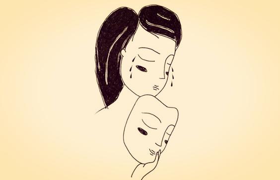 gülen maskeyle ağlayan kişi