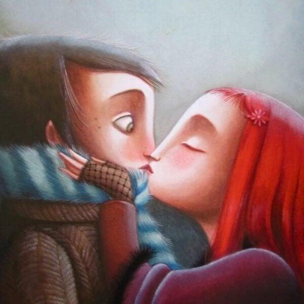 kışın öpüşen çift