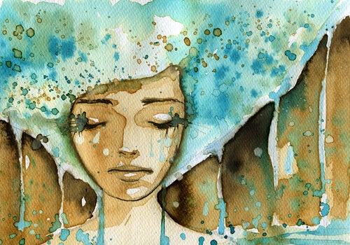sulu buya şeklinde ağlayan kadın