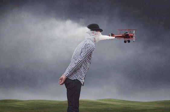 uçağın dumanına kapılan adam