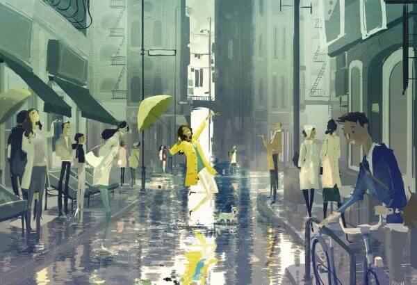 sarı şemsiyeyle dans