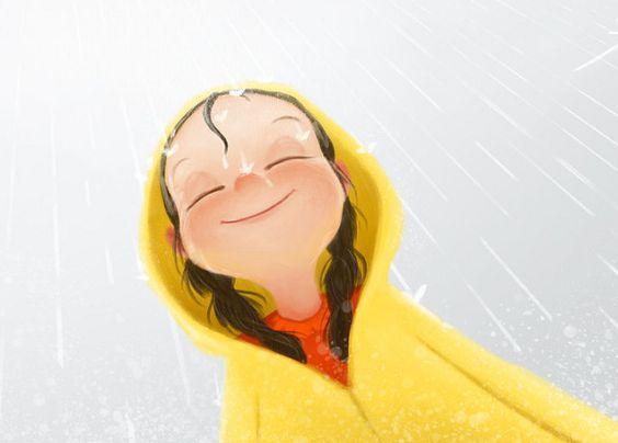yağmurda ve mutlu