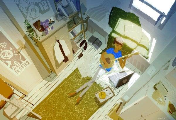 odada gitar çalmak