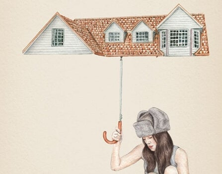 ev şemsiyeli kız